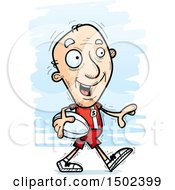 Clipart Of A Walking White Senior Male Rugby Player Royalty Free Vector Illustration