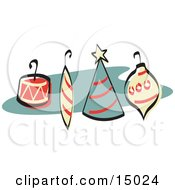 Four Colorful Tree Ornaments With Hooks Retro Clipart Illustration