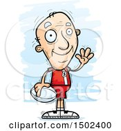 Clipart Of A Waving White Senior Male Rugby Player Royalty Free Vector Illustration
