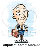 Clipart Of A Confident White Senior Male College Student Royalty Free Vector Illustration