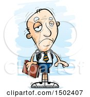Clipart Of A Sad White Senior Male College Student Royalty Free Vector Illustration