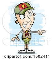Clipart Of A Mad Pointing White Senior Male Scout Royalty Free Vector Illustration