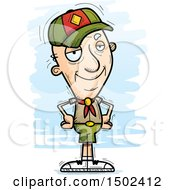 Clipart Of A Confident White Senior Male Scout Royalty Free Vector Illustration