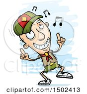 Clipart Of A White Senior Male Scout Doing A Happy Dance Royalty Free Vector Illustration