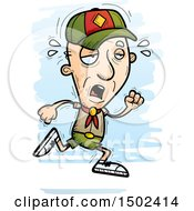 Clipart Of A Tired Running White Senior Male Scout Royalty Free Vector Illustration