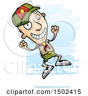 Clipart Of A Jumping White Senior Male Scout Royalty Free Vector Illustration