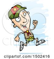 Clipart Of A Running White Senior Male Scout Royalty Free Vector Illustration