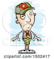 Clipart Of A Sad White Senior Male Scout Royalty Free Vector Illustration