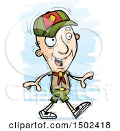 Clipart Of A Walking White Senior Male Scout Royalty Free Vector Illustration