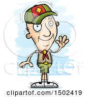 Clipart Of A Waving White Senior Male Scout Royalty Free Vector Illustration