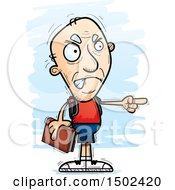 Clipart Of A Mad Pointing White Senior Male Community College Student Royalty Free Vector Illustration