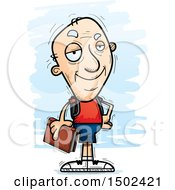 Clipart Of A Confident White Senior Male Community College Student Royalty Free Vector Illustration