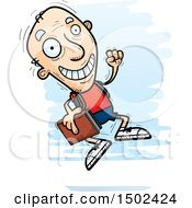 Clipart Of A Jumping White Senior Male Community College Student Royalty Free Vector Illustration