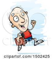 Clipart Of A Running White Senior Male Community College Student Royalty Free Vector Illustration