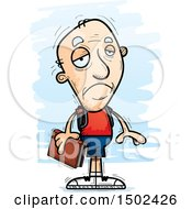 Clipart Of A Sad White Senior Male Community College Student Royalty Free Vector Illustration