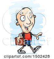 Clipart Of A Walking White Senior Male Community College Student Royalty Free Vector Illustration