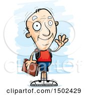 Clipart Of A Waving White Senior Male Community College Student Royalty Free Vector Illustration