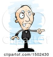 Clipart Of A Mad Pointing Caucasian Senior Man In A Tuxedo Royalty Free Vector Illustration