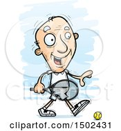Clipart Of A Walking Caucasian Senior Male Tennis Player Royalty Free Vector Illustration
