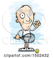 Clipart Of A Waving Caucasian Senior Male Tennis Player Royalty Free Vector Illustration