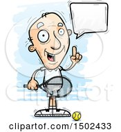 Clipart Of A Talking Caucasian Senior Male Tennis Player Royalty Free Vector Illustration