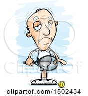 Clipart Of A Sad Caucasian Senior Male Tennis Player Royalty Free Vector Illustration