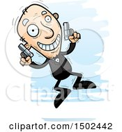 Clipart Of A Jumping Caucasian Senior Male Spy Royalty Free Vector Illustration