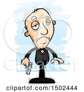 Clipart Of A Sad Caucasian Senior Male Spy Royalty Free Vector Illustration