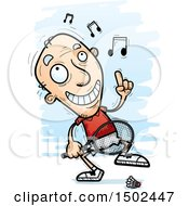 Clipart Of A Happy Dancing Caucasian Senior Man Badminton Player Royalty Free Vector Illustration