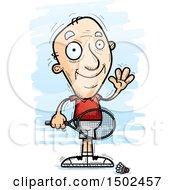 Clipart Of A Waving Caucasian Senior Man Badminton Player Royalty Free Vector Illustration