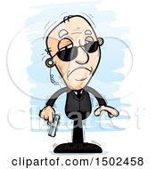 Clipart Of A Sad Caucasian Senior Man Secret Service Agent Royalty Free Vector Illustration