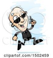 Clipart Of A Running Caucasian Senior Man Secret Service Agent Royalty Free Vector Illustration