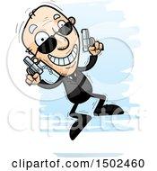 Clipart Of A Jumping Caucasian Senior Man Secret Service Agent Royalty Free Vector Illustration