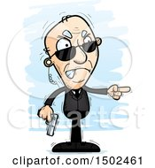 Clipart Of A Mad Pointing Caucasian Senior Man Secret Service Agent Royalty Free Vector Illustration