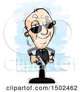 Clipart Of A Confident Caucasian Senior Man Secret Service Agent Royalty Free Vector Illustration