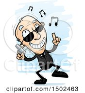 Clipart Of A Happy Dancing Caucasian Senior Man Secret Service Agent Royalty Free Vector Illustration