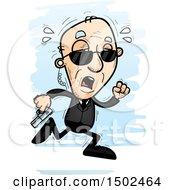 Clipart Of A Tired Running Caucasian Senior Man Secret Service Agent Royalty Free Vector Illustration
