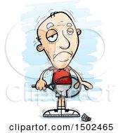 Clipart Of A Sad Caucasian Senior Man Badminton Player Royalty Free Vector Illustration
