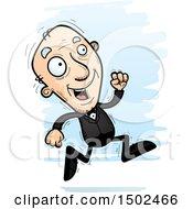 Clipart Of A Running Caucasian Senior Man In A Tuxedo Royalty Free Vector Illustration