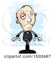 Clipart Of A Sad Caucasian Senior Man In A Tuxedo Royalty Free Vector Illustration