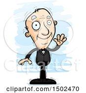 Clipart Of A Waving Caucasian Senior Man In A Tuxedo Royalty Free Vector Illustration