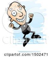 Clipart Of A Jumping Caucasian Senior Man In A Tuxedo Royalty Free Vector Illustration