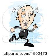 Clipart Of A Tired Running Caucasian Senior Man In A Tuxedo Royalty Free Vector Illustration