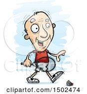Clipart Of A Walking Caucasian Senior Man Badminton Player Royalty Free Vector Illustration
