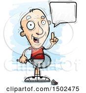 Clipart Of A Talking Caucasian Senior Man Badminton Player Royalty Free Vector Illustration