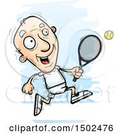 Clipart Of A Running Caucasian Senior Male Tennis Player Royalty Free Vector Illustration