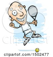Clipart Of A Jumping Caucasian Senior Male Tennis Player Royalty Free Vector Illustration