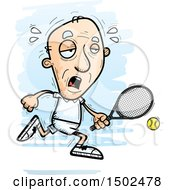 Clipart Of A Running Tired Caucasian Senior Male Tennis Player Royalty Free Vector Illustration