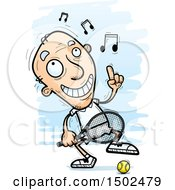 Clipart Of A Happy Dancing Caucasian Senior Male Tennis Player Royalty Free Vector Illustration
