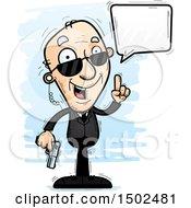 Clipart Of A Talking Caucasian Senior Man Secret Service Agent Royalty Free Vector Illustration